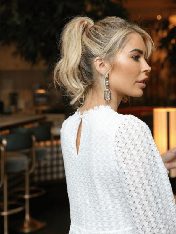 Secret Wish Boutique Sukienka Biała Koronkowa z Długim Rękawem Mini (1)