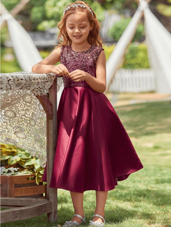 Secret Wish Boutique Sukienka Bordowa w Cekiny dla Dziewczynki Bez Rękawów Midi (1)