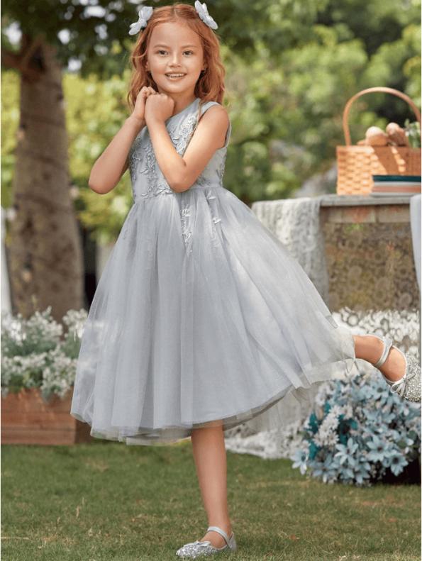 Secret Wish Boutique Sukienka Szara Tiulowa dla Dziewczynki Midi (1)