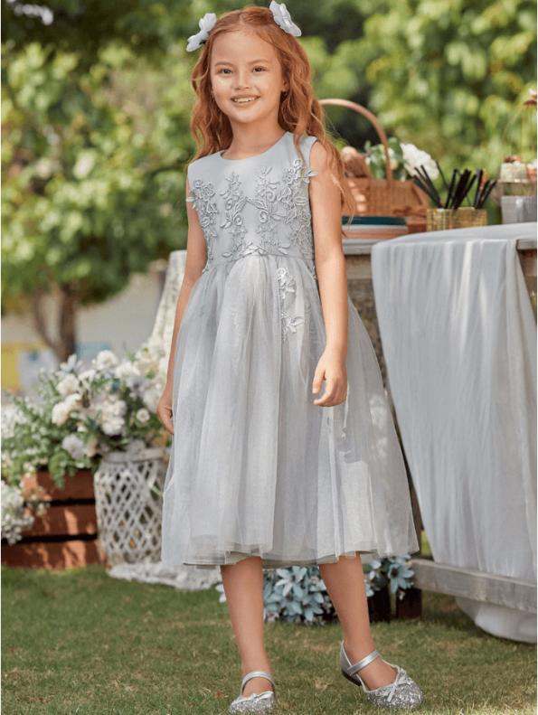 Secret Wish Boutique Sukienka Szara Tiulowa dla Dziewczynki Midi (3)