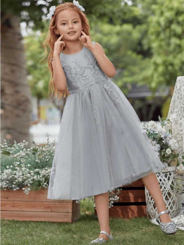 Secret Wish Boutique Sukienka Szara Tiulowa dla Dziewczynki Midi