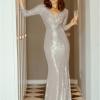 Aramia Sukienka Srebrna Cekiny