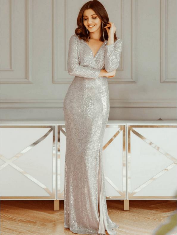 Secret Wish Boutique Suknia Srebrna w Cekiny z Długim Rękawem Maxi (3)