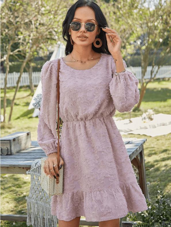 Secret Wish Boutique Suknia Różowa z Falbanką z Długim Rękawem Mini (1)