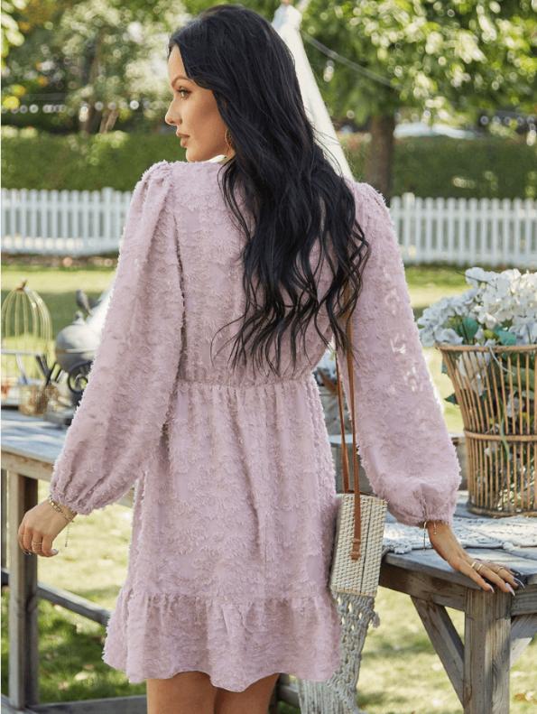 Secret Wish Boutique Suknia Różowa z Falbanką z Długim Rękawem Mini (2)