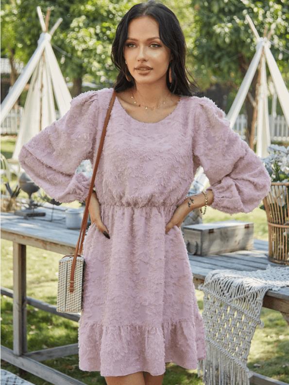 Secret Wish Boutique Suknia Różowa z Falbanką z Długim Rękawem Mini (3)
