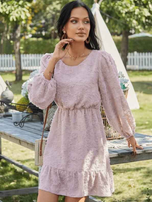 Secret Wish Boutique Suknia Różowa z Falbanką z Długim Rękawem Mini
