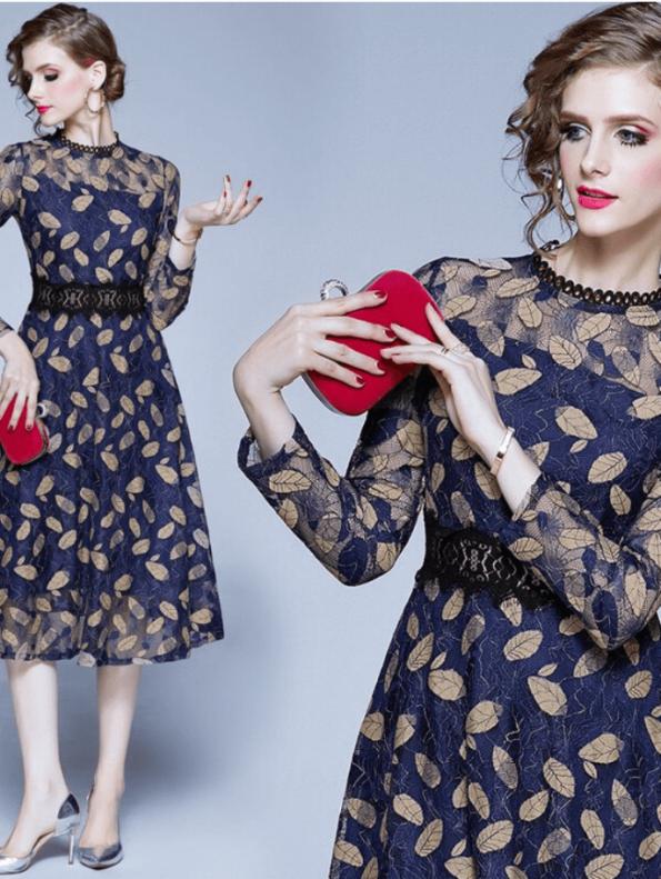 Secret Wish Boutique Sukienka Granatowa Haftowana w Złote Listki (3)
