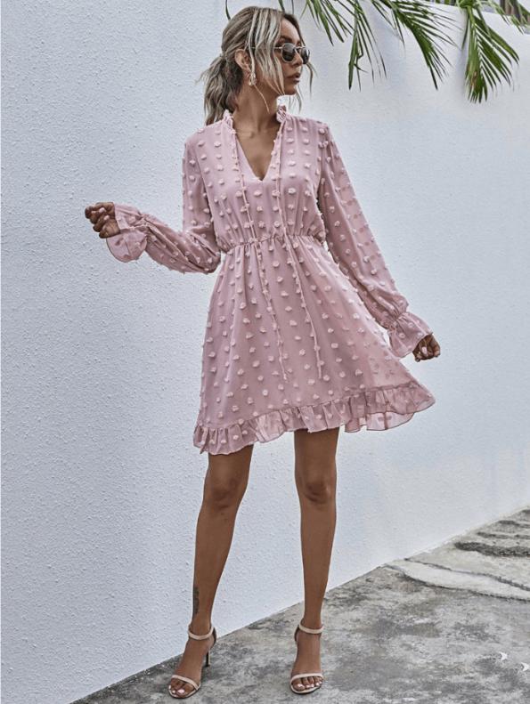 Secret Wish Boutique Sukienka Koronkowa z Długim Rękawem Mini Przed Kolano (1)