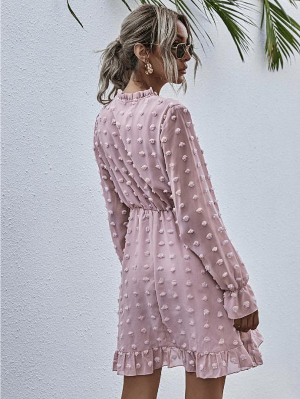 Secret Wish Boutique Sukienka Koronkowa z Długim Rękawem Mini Przed Kolano (2)