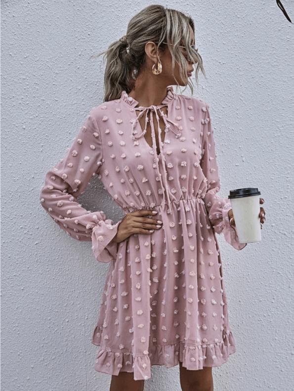 Secret Wish Boutique Sukienka Koronkowa z Długim Rękawem Mini Przed Kolano (3)