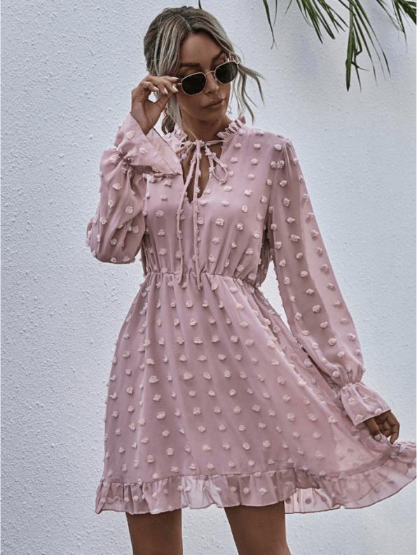 Secret Wish Boutique Sukienka Koronkowa z Długim Rękawem Mini Przed Kolano