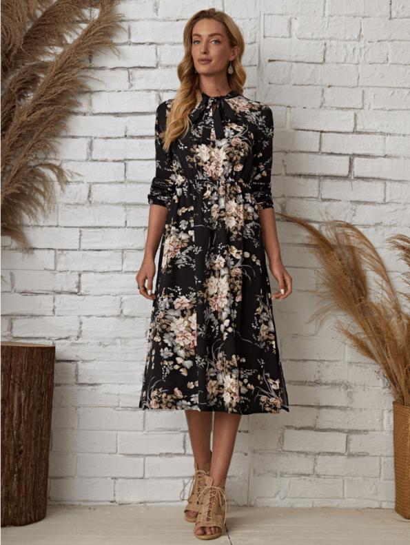 Secret Wish Boutique Sukienka Granatowa w Kwiaty Długi Rękaw Midi (3)