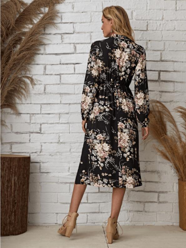 Secret Wish Boutique Sukienka Granatowa w Kwiaty Długi Rękaw Midi (4)