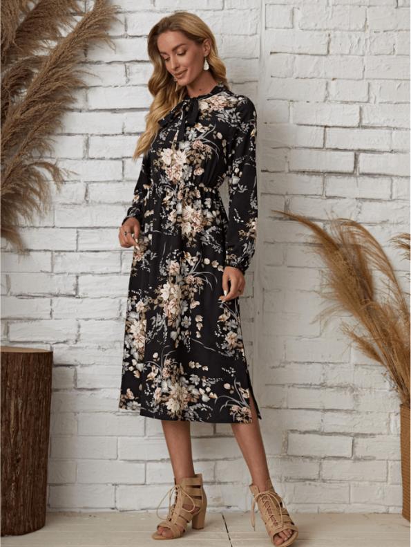 Secret Wish Boutique Sukienka Granatowa w Kwiaty Długi Rękaw Midi