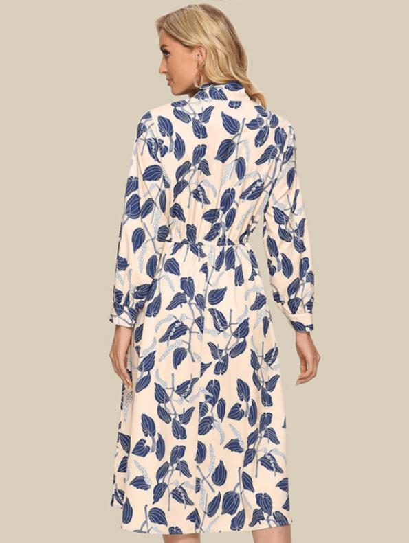 Secret Wish Boutique Sukienka Kremowa w Niebieskie Kwiaty z Długim Rękawem Midi (1)