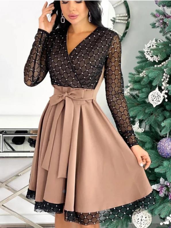 Secret Wish Boutique Sukienka Rozkloszowana Beżowa Perełki z Długim Rękawem Mini (1)