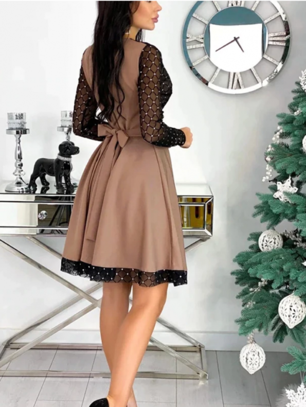 Secret Wish Boutique Sukienka Rozkloszowana Beżowa Perełki z Długim Rękawem Mini (2)