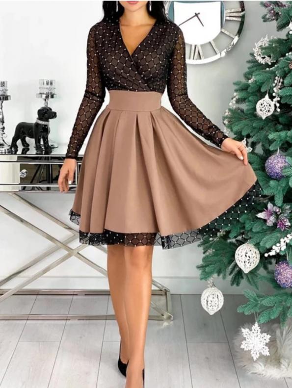 Secret Wish Boutique Sukienka Rozkloszowana Beżowa Perełki z Długim Rękawem Mini (3)