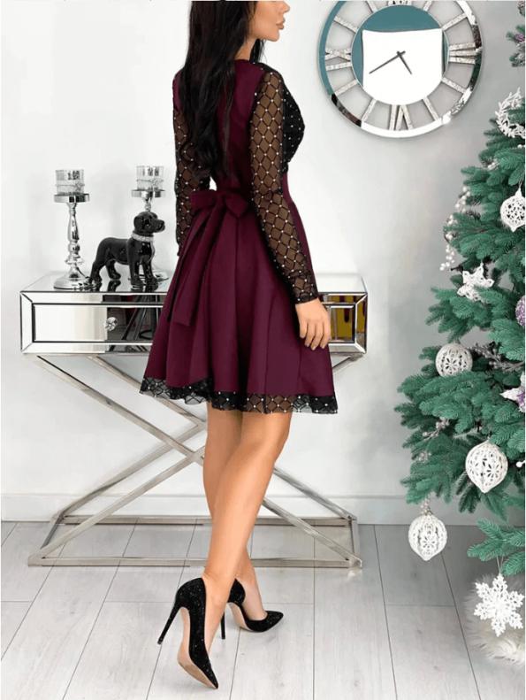 Secret Wish Boutique Sukienka Rozkloszowana Bordowa Perełki z Długim Rękawem Mini (1)