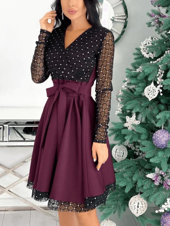 Secret Wish Boutique Sukienka Rozkloszowana Bordowa Perełki z Długim Rękawem Mini (3)