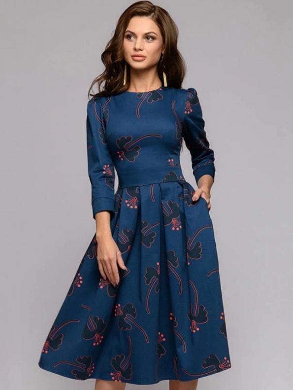 Secret Wish Boutique Sukienka Rozkloszowana Granatowa w Kwiaty Rękaw 3_4 (1)