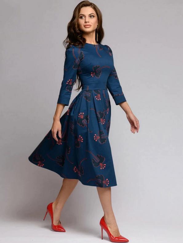 Secret Wish Boutique Sukienka Rozkloszowana Granatowa w Kwiaty Rękaw 3_4 (2)