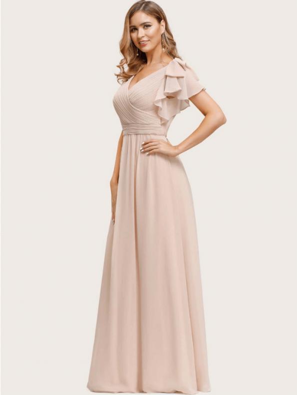 Secret Wish Boutique Sukienka Beżowa Ecru z Krótkim Rękawem Maxi (1)