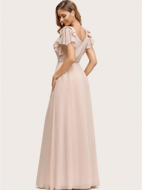 Secret Wish Boutique Sukienka Beżowa Ecru z Krótkim Rękawem Maxi (2)