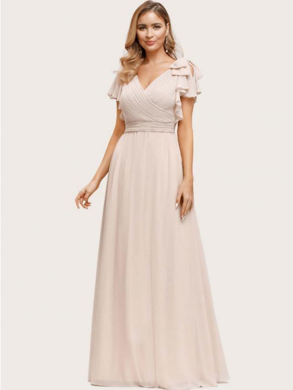 Secret Wish Boutique Sukienka Beżowa Ecru z Krótkim Rękawem Maxi (3)
