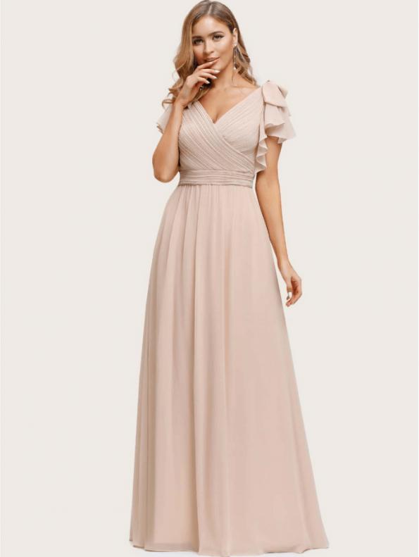 Secret Wish Boutique Sukienka Beżowa Ecru z Krótkim Rękawem Maxi