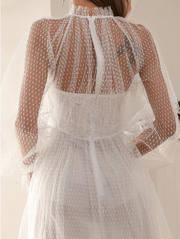 Secret Wish Boutique Sukienka Biała Koronkowa z Długim Rękawem Maxi (1)