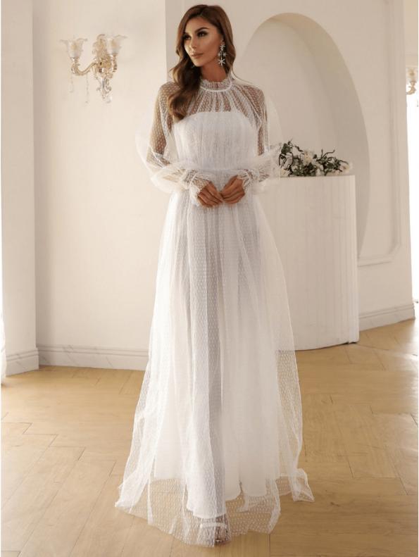 Secret Wish Boutique Sukienka Biała Koronkowa z Długim Rękawem Maxi (2)