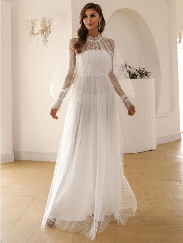 Secret Wish Boutique Sukienka Biała Koronkowa z Długim Rękawem Maxi (3)