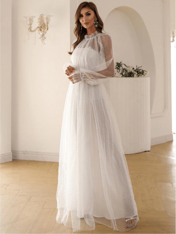 Secret Wish Boutique Sukienka Biała Koronkowa z Długim Rękawem Maxi (4)