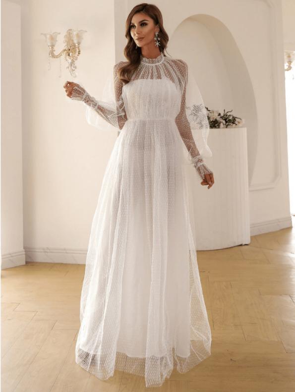 Secret Wish Boutique Sukienka Biała Koronkowa z Długim Rękawem Maxi (5)