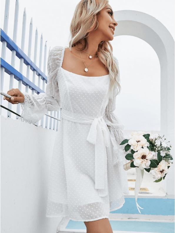 Secret Wish Boutique Sukienka Biała Koronkowa z Długim Rękawem Mini Odsłonięte Plecy (1)