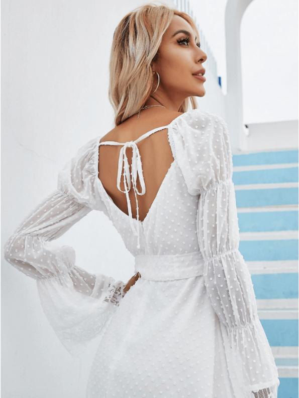 Secret Wish Boutique Sukienka Biała Koronkowa z Długim Rękawem Mini Odsłonięte Plecy (2)