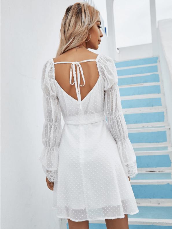 Secret Wish Boutique Sukienka Biała Koronkowa z Długim Rękawem Mini Odsłonięte Plecy (3)