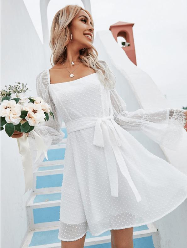 Secret Wish Boutique Sukienka Biała Koronkowa z Długim Rękawem Mini Odsłonięte Plecy (4)