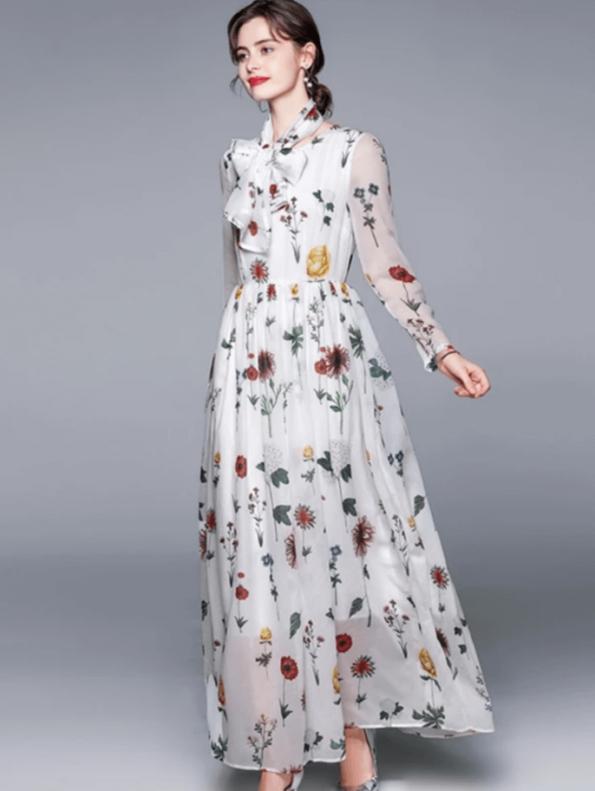Secret Wish Boutique Sukienka Biała w Kwiaty z Długim Rękawem do Kostek Maxi (1)