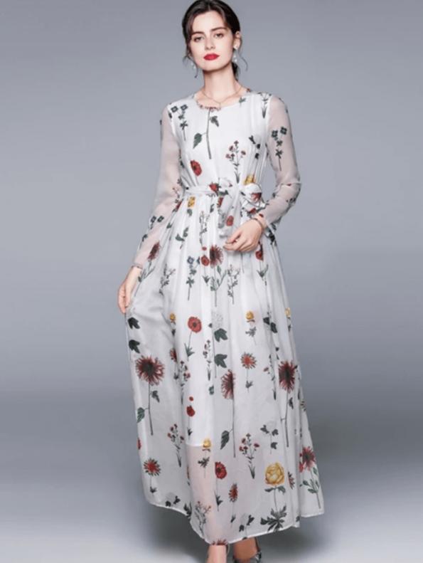 Secret Wish Boutique Sukienka Biała w Kwiaty z Długim Rękawem do Kostek Maxi (2)