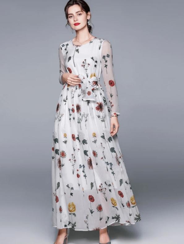 Secret Wish Boutique Sukienka Biała w Kwiaty z Długim Rękawem do Kostek Maxi (3)