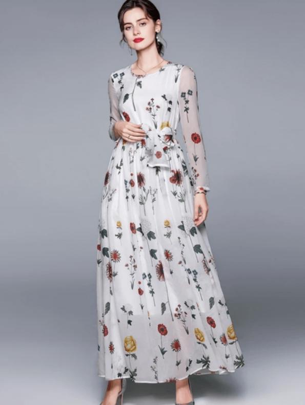 Secret Wish Boutique Sukienka Biała w Kwiaty z Długim Rękawem do Kostek Maxi