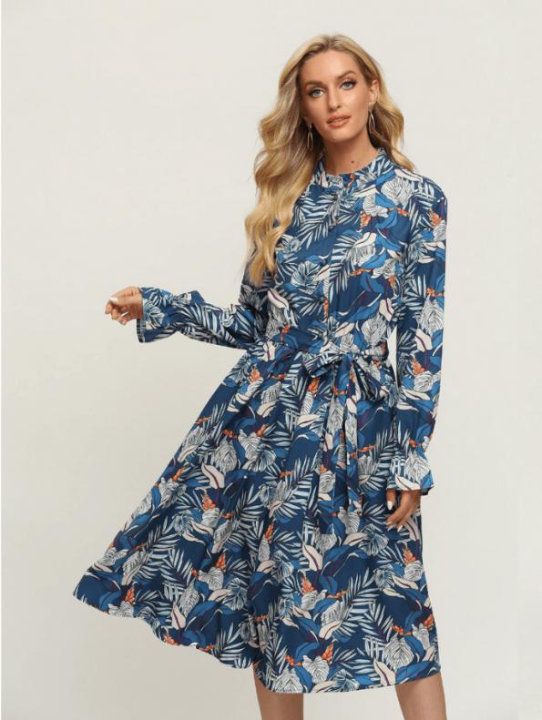 Secret Wish Boutique Sukienka Błękitna w Kolorowe Wzory z Długim Rękawem Za Kolano Midi (1)