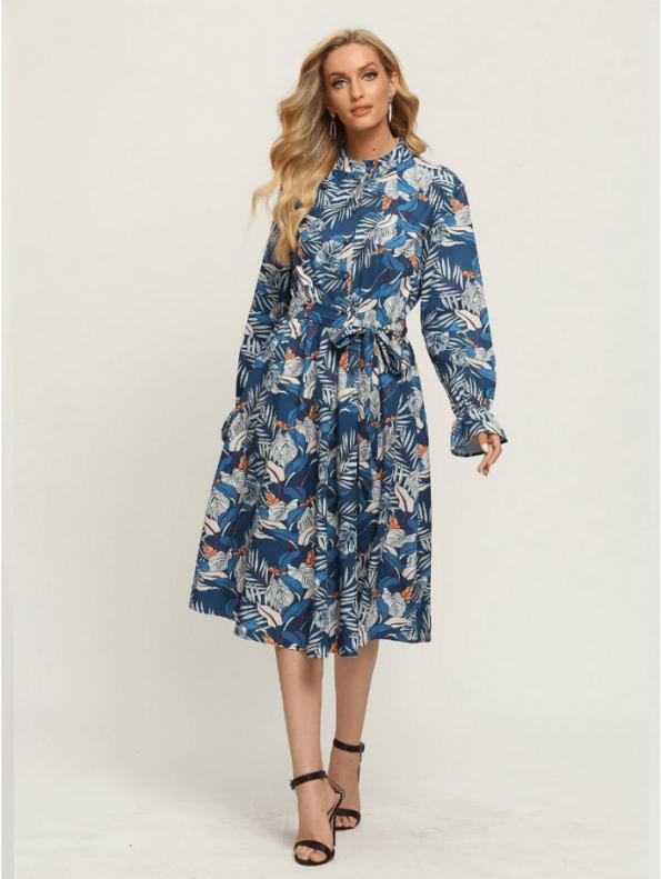 Secret Wish Boutique Sukienka Błękitna w Kolorowe Wzory z Długim Rękawem Za Kolano Midi (2)