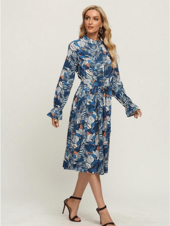 Secret Wish Boutique Sukienka Błękitna w Kolorowe Wzory z Długim Rękawem Za Kolano Midi (3)