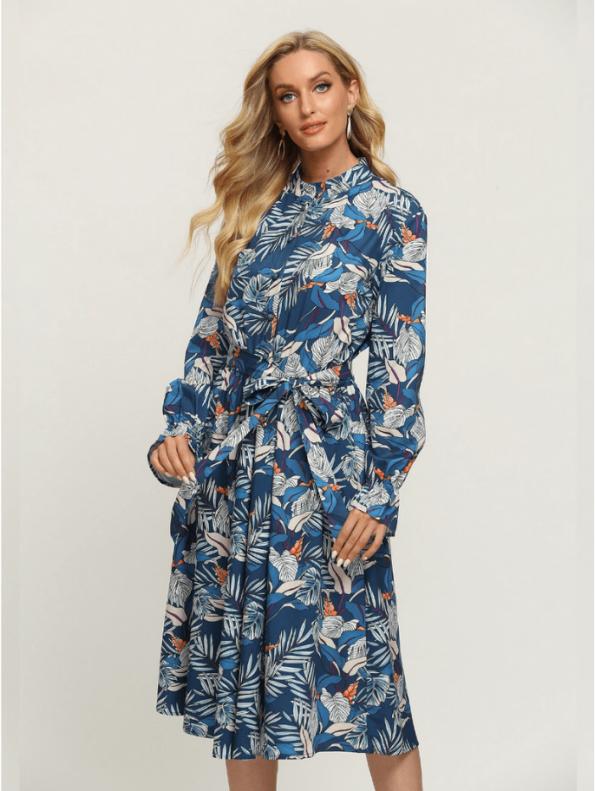 Secret Wish Boutique Sukienka Błękitna w Kolorowe Wzory z Długim Rękawem Za Kolano Midi (5)
