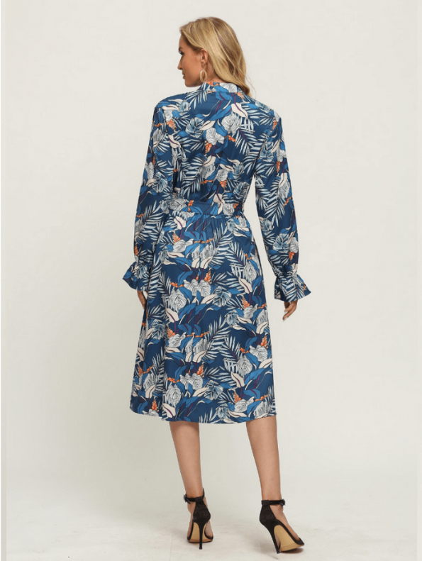 Secret Wish Boutique Sukienka Błękitna w Kolorowe Wzory z Długim Rękawem Za Kolano Midi (6)