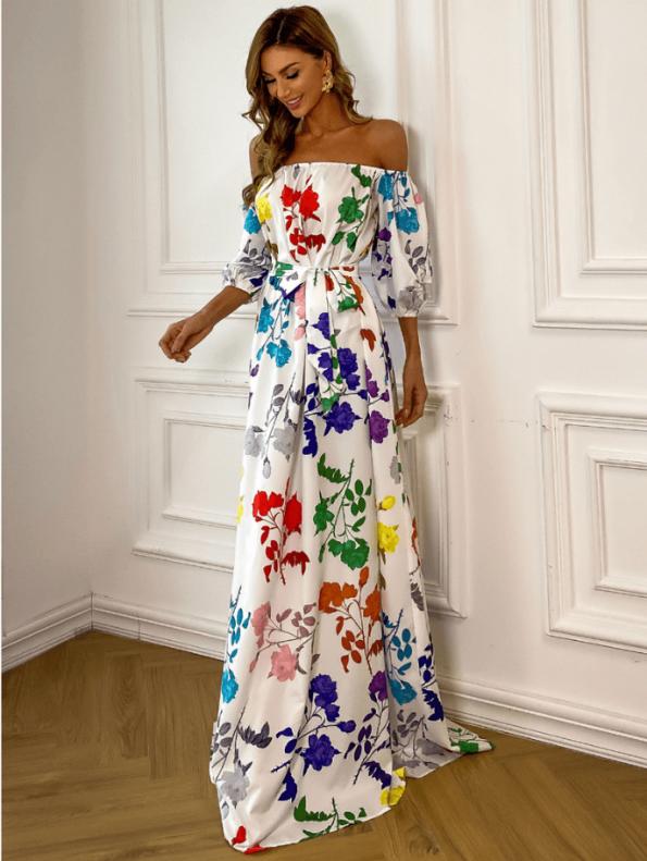 Secret Wish Boutique Sukienka Hiszpanka Biała w Kolorowe Kwiaty z Krótkim Rękawem Maxi (2)